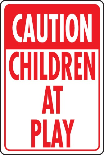 "Image logo for 12"" x 18"" x 0.040 Aluminum Sign:  CAUTION - CHILDREN AT PLAY"