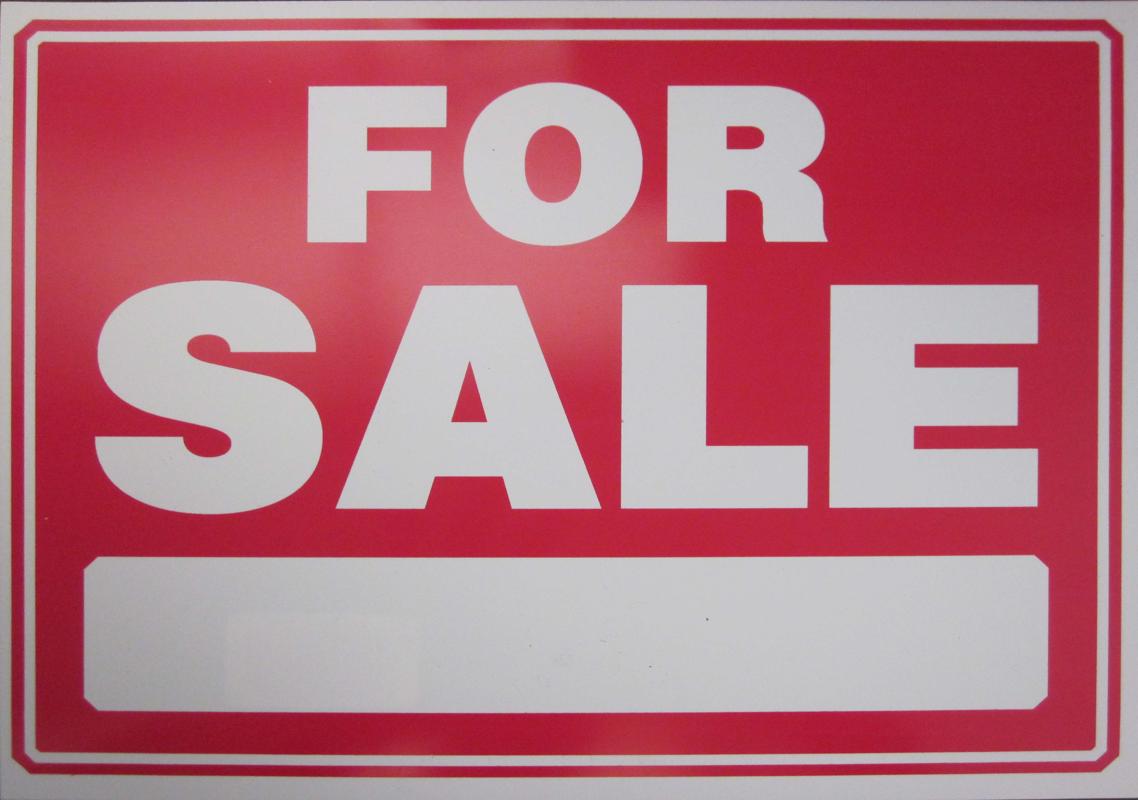 """Image logo for 12"""" x 9"""" Plastic Sign:  FOR SALE (with Blank Info Bar)"""