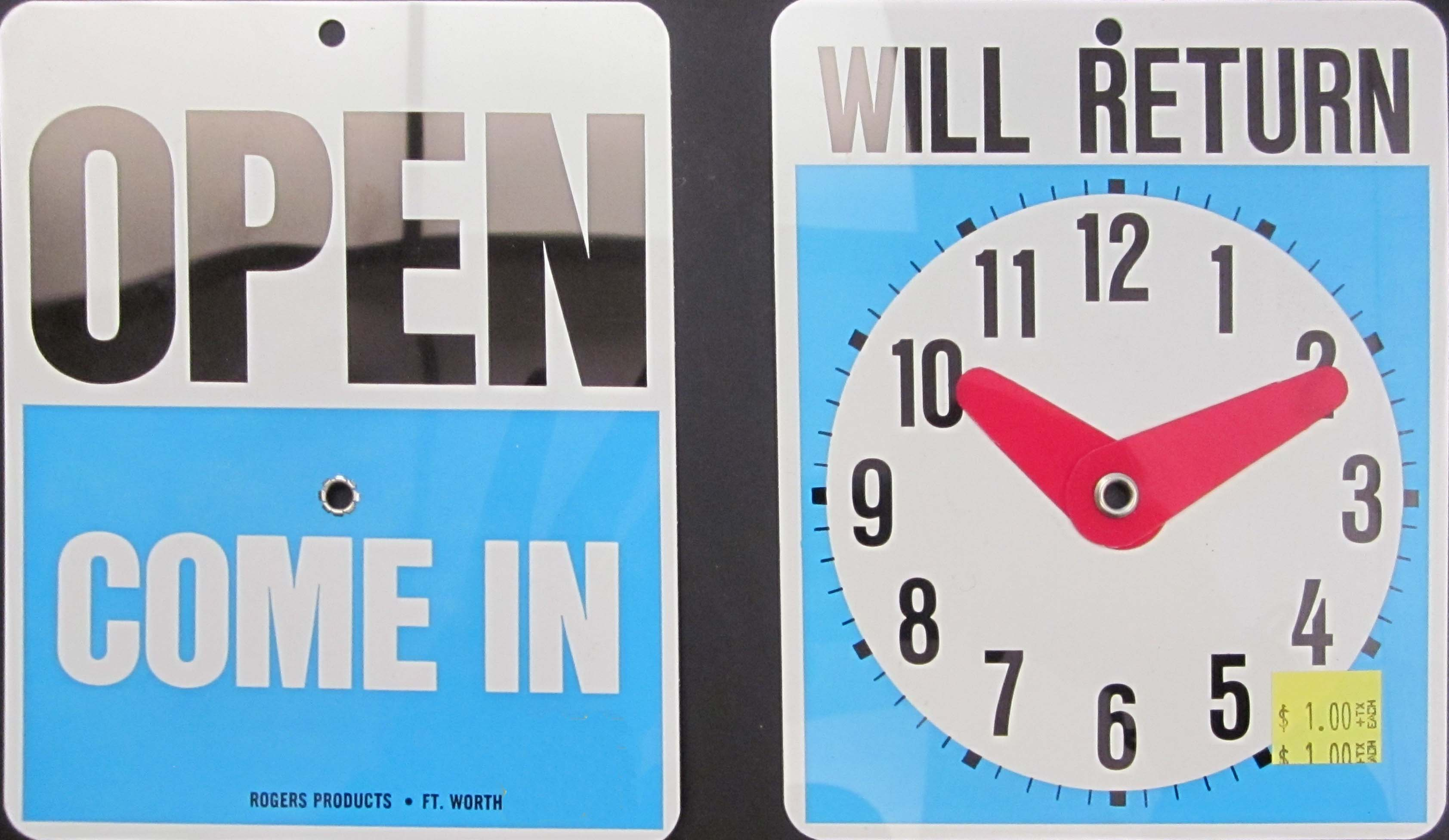 "Image logo for 5"" x 6"" Plastic Sign: OPEN - COME IN / WILL RETURN with CLOCK"