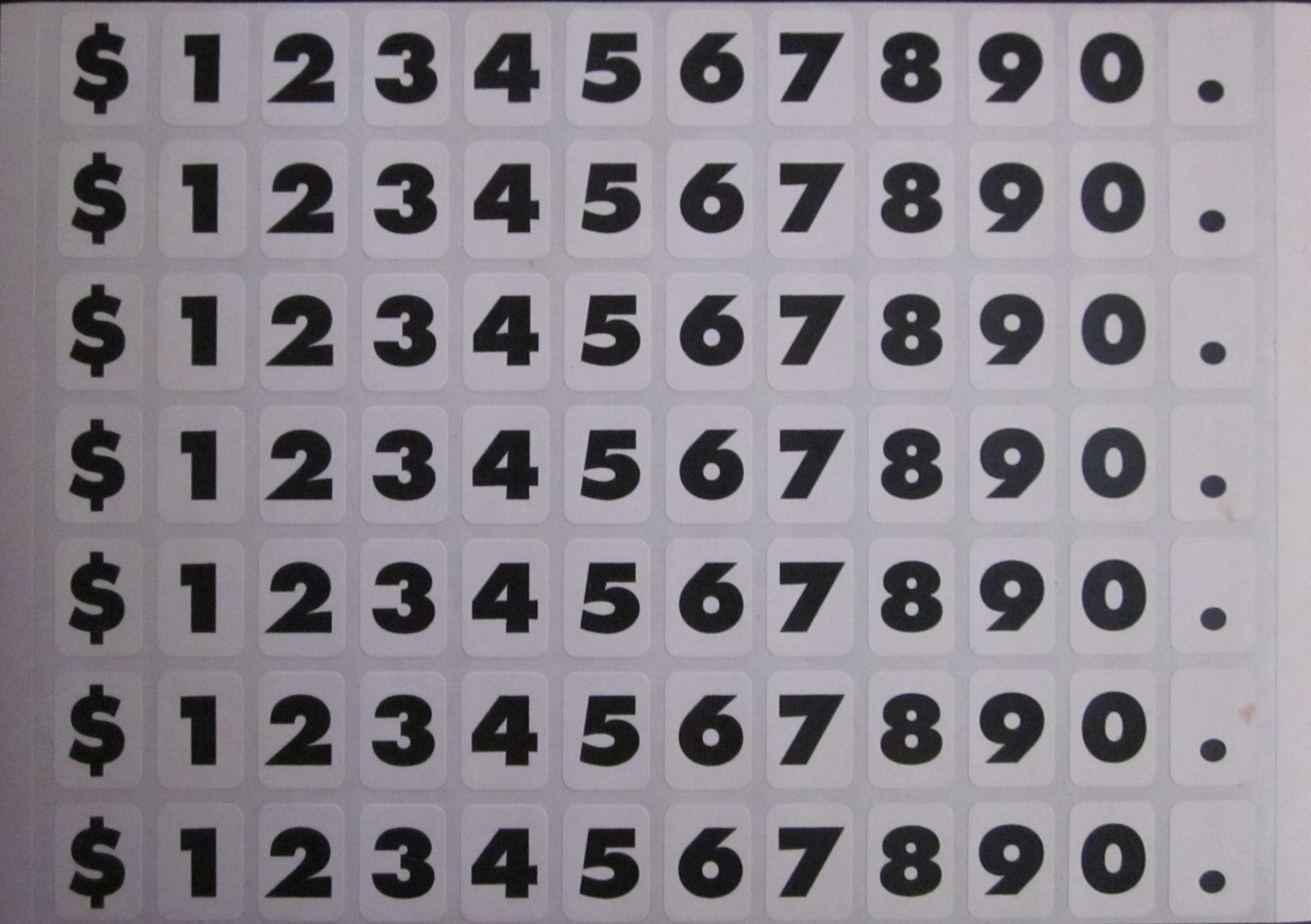 """Image logo for Die Cut Vinyl Numbers: 5/8"""" High on White Facing"""
