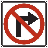 "Image logo for R3-1 - 24"" x 24"" x 0.080 Aluminum Sign: NO RIGHT TURN (Symbol)"