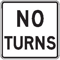"""Image logo for R3-3 - 24"""" x 24"""" x 0.080 Aluminum Sign: NO TURNS"""