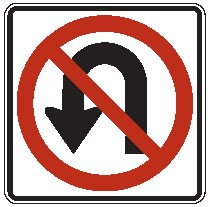 "Image logo for R3-4 - 24"" x 24"" x 0.080 Aluminum Sign: NO U-TURN (Symbol)"