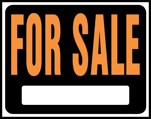 """Image logo for 19"""" x 15"""" Hy-Glo Plastic Sign:  FOR SALE (w/ Blank Info Box)"""