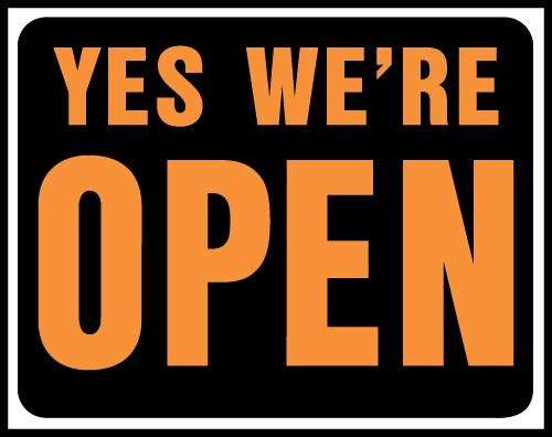 "Image logo for 19"" x 15"" Hy-Glo Plastic Sign:  YES, WE'RE OPEN"