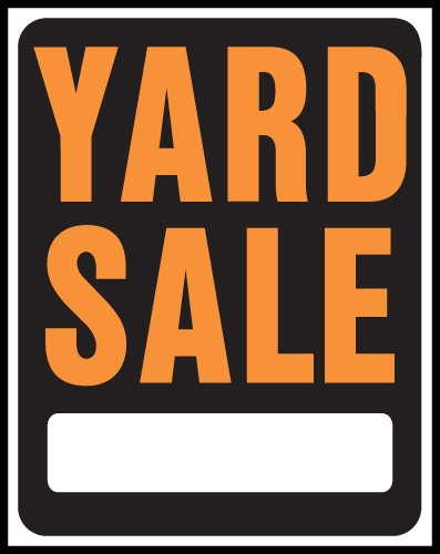 "Image logo for 15"" x 19"" Hy-Glo Plastic Sign:  YARD SALE (w/ Blank Info Box)"