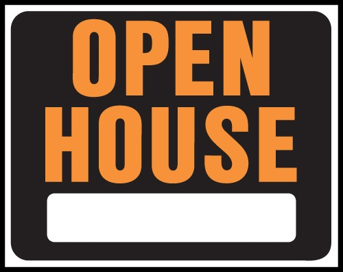 "Image logo for 19"" x 15"" Hy-Glo Plastic Sign:  OPEN HOUSE (w/ Blank Info Box)"