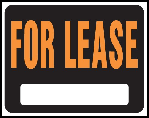 """Image logo for 19"""" x 15"""" Hy-Glo Plastic Sign:  FOR LEASE (w/ Blank Info Box)"""