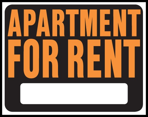 "Image logo for 19"" x 15"" Hy-Glo Plastic Sign:  APARTMENT FOR RENT (w/ Blank Info Box)"