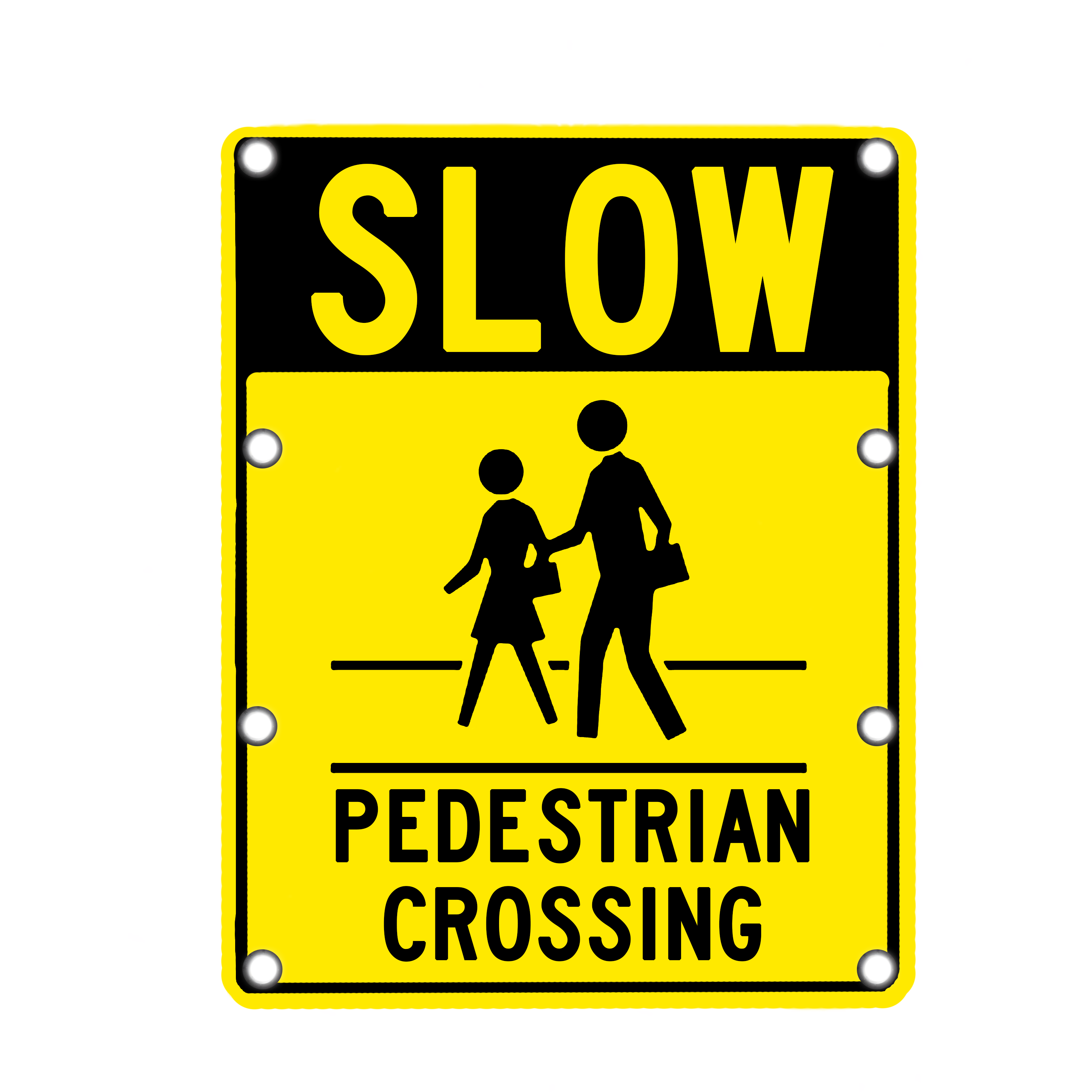 Image logo for Lighted Roadway Signs -  SLOW - PEDESTRIAN CROSSING Sign