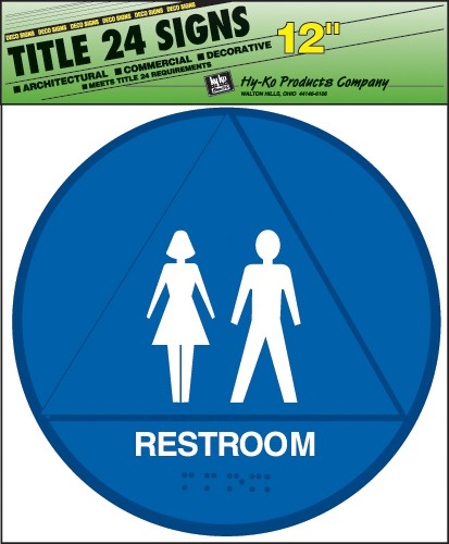 "Image logo for 12"" x 12"" TITLE 24 Braille / Tactile Sign:  RESTROOM"