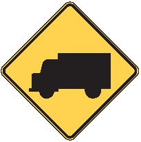 "Image logo for W11-10 - 24"" x 24"" x 0.080 Aluminum Sign: TRUCK CROSSING (Symbol)"