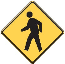 "Image logo for W11-2 - 24"" x 24"" x 0.080 Aluminum Sign: PEDESTRIAN CROSSING (Symbol)"
