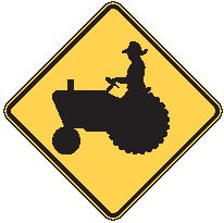 "Image logo for W11-5 - 24"" x 24"" x 0.080 Aluminum Sign: TRACTOR CROSSING (Symbol)"