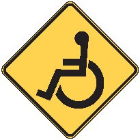 "Image logo for W11-9 - 24"" x 24"" x 0.080 Aluminum Sign: WHEELCHAIR CROSSING (Symbol)"