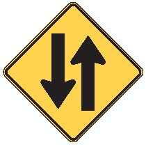 "Image logo for Traffic Signs | W6-3 - 36"" x 36"" x 0.080 Aluminum Sign: ONCOMING TRAFFIC AHEAD"