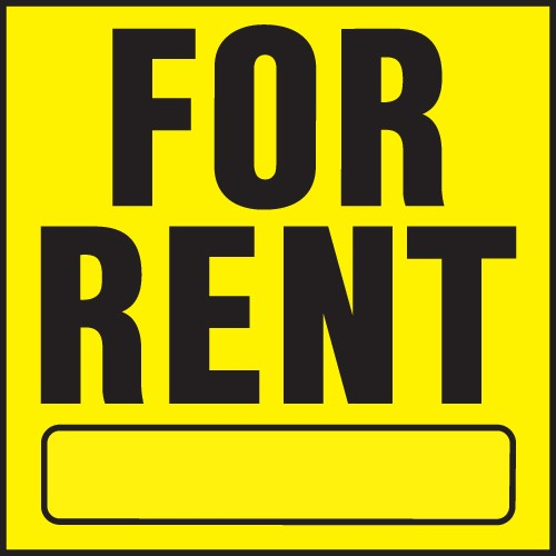 "Image logo for 11"" x 11"" Heavy-Duty Plastic Sign:  FOR RENT w/ Blank Info Bar"