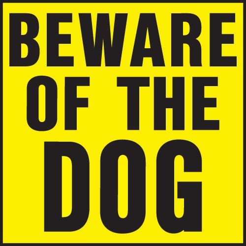 "Image logo for 11"" x 11"" Heavy-Duty Plastic Sign:  BEWARE OF THE DOG"