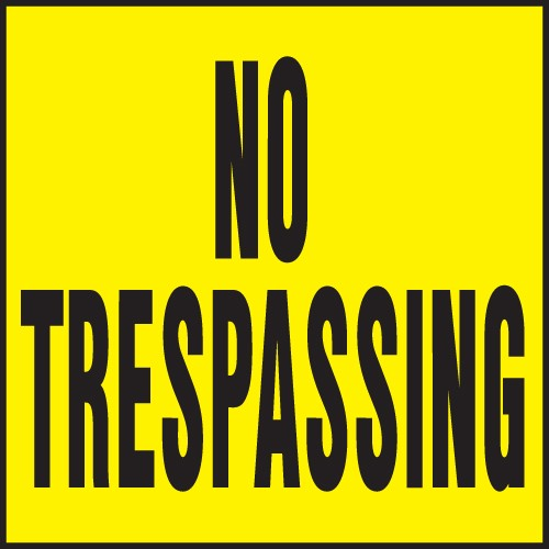 "Image logo for 11"" x 11"" Heavy-Duty Plastic Sign: NO TRESPASSING"