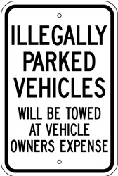 "Image logo for 12"" x 18"" x 0.080 Aluminum Sign: ILLEGALLY PARKED VEHICLES WILL BE TOWED..."