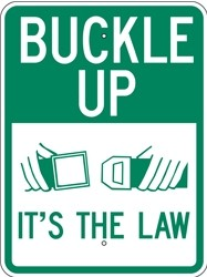 "Image logo for 18"" x 24"" x 0.080 Aluminum Sign:  BUCKLE UP - IT'S THE LAW (with Graphic)"