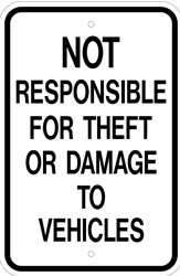 "Image logo for 12"" x 18"" x 0.080 Aluminum Sign: NOT RESPONSIBLE FOR THEFT OR DAMAGE..."