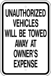 "Image logo for 12"" x 18"" x 0.080 Aluminum Sign: UNAUTHORIZED VEHICLES WILL BE TOWED..."