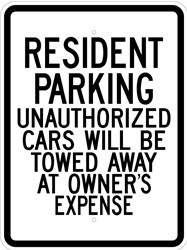 "Image logo for 18"" x 24"" x 0.080 Aluminum Sign: RESIDENT PARKING - UNAUTHORIZED CARS WILL BE TOWED..."