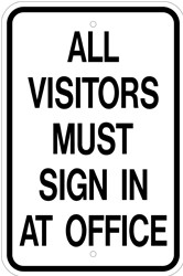 "Image logo for 12"" x 18"" x 0.080 Aluminum Sign: ALL VISITORS MUST SIGN IN"