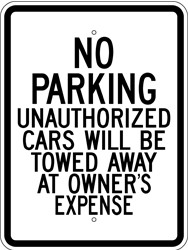 "Image logo for 18"" x 24"" x 0.080 Aluminum Sign:  NO PARKING - UNAUTHORIZED CARS WILL BE TOWED..."