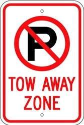 """Image logo for 12"""" x 18"""" x 0.080 Aluminum Sign: NO PARKING - TOW AWAY ZONE (with Symbol)"""