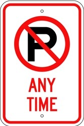"Image logo for 12"" x 18"" x 0.080 Aluminum Sign: NO PARKING ANY TIME (with Symbol)"