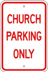 "Image logo for 12"" x 18"" x 0.080 Aluminum Sign: CHURCH PARKING ONLY"