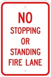 "Image logo for 12"" x 18"" x 0.080 Aluminum Sign:  NO STOPPING OR STANDING - FIRE LANE"