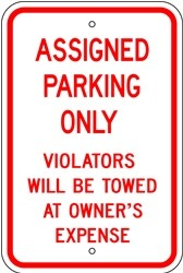 "Image logo for 12"" x 18"" x 0.080 Aluminum Sign: ASSIGNED PARKING ONLY - VIOLATORS WILL BE TOWED..."