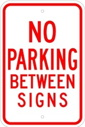"""Image logo for 12"""" x 18"""" x 0.080 Aluminum Sign: NO PARKING BETWEEN SIGNS (with or without Arrows)"""