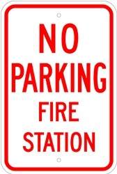"Image logo for 12"" x 18"" x 0.080 Aluminum Sign: NO PARKING - FIRE STATION"