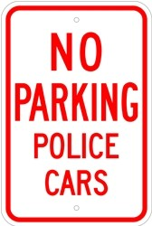 """Image logo for 12"""" x 18"""" x 0.080 Aluminum Sign: NO PARKING - POLICE CARS"""