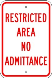 "Image logo for 12"" x 18"" x 0.080 Aluminum Sign: RESTRICTED AREA - NO ADMITTANCE"