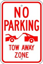 """Image logo for 12"""" x 18"""" x 0.080 Aluminum Sign: NO PARKING - TOW AWAY ZONE (with Graphic)"""