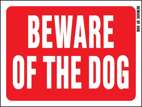 "Image logo for 12"" x 9"" Red/ White Plastic Sign:  BEWARE OF THE DOG"