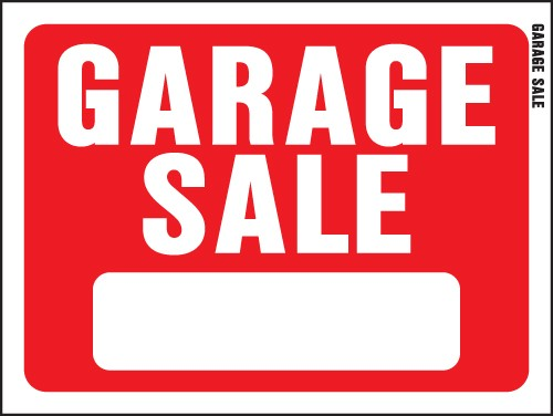 "Image logo for 12"" x 9"" Red/ White Plastic Sign:  GARAGE SALE (w/ Blank Info Box)"