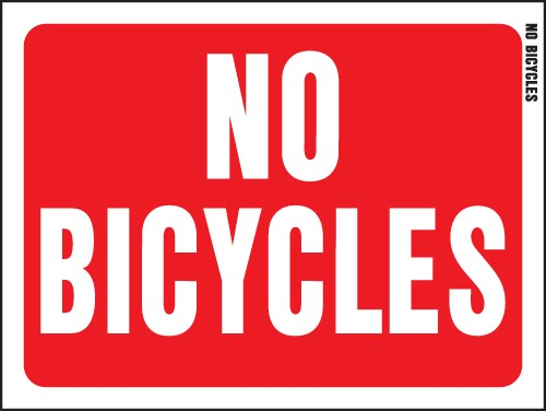 "Image logo for 12"" x 9"" Red/ White Plastic Sign:  NO BICYCLES"