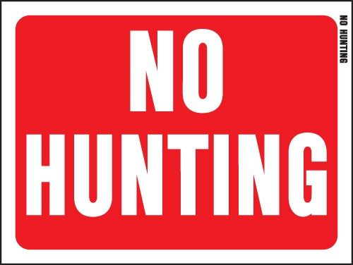 "Image logo for 12"" x 9"" Red/ White Plastic Sign:  NO HUNTING"