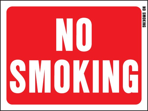 "Image logo for 12"" x 9"" Red/ White Plastic Sign:  NO SMOKING"