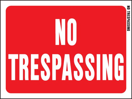 "Image logo for No Trespassing Signs | 12"" x 9"" Red/ White Plastic Sign:  NO TRESPASSING"