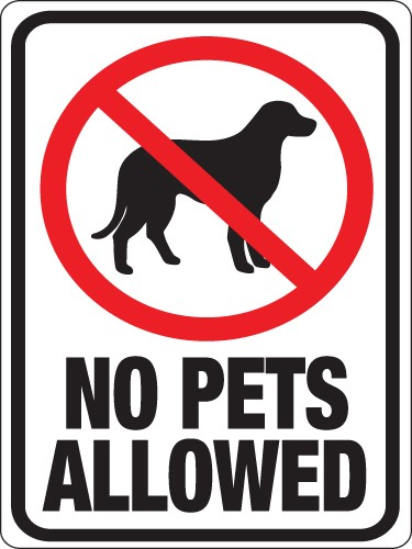 """Image logo for 9"""" x 12"""" Red/ White/ Black Plastic Sign:  NO PETS ALLOWED"""