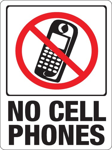 """Image logo for 9"""" x 12"""" Red/ White/ Black Plastic Sign:  NO CELL PHONES"""
