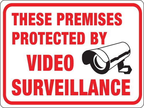 """Image logo for 12"""" x 9"""" Red/ White/ Black Plastic Sign:  THESE PREMISES PROTECTED BY VIDEO SURVEILLANCE"""