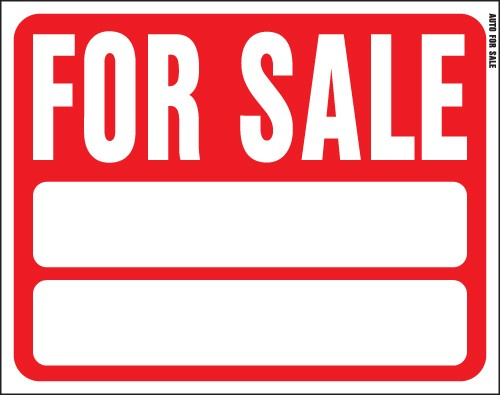 "Image logo for 19"" x 15"" Red/ White Plastic Sign:  FOR SALE (w/ Blank Info Boxes)"
